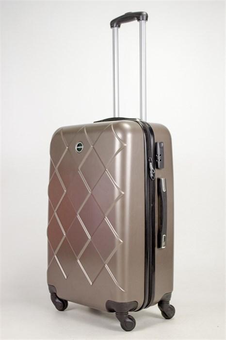 Чемодан средний ABS Longstar (ромбики) коричневый - фото 39088