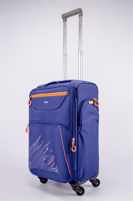 Чемодан текстильный средний Impreza (с аппликацией) синий съемные колеса - фото 39183