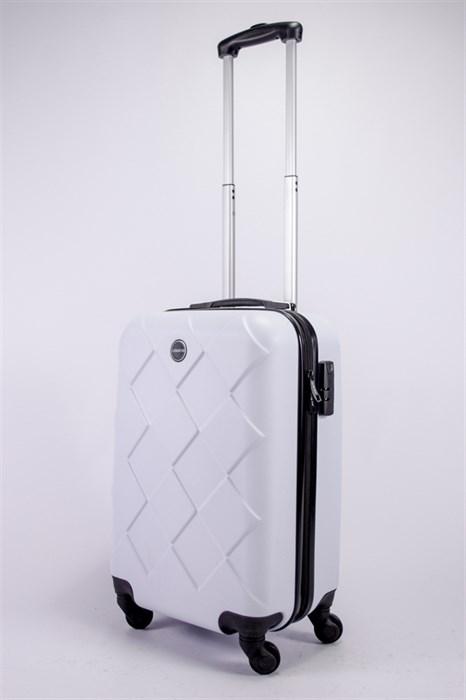 Чемодан маленький ABS Longstar (ромбики) белый - фото 39388