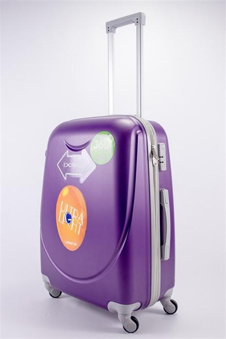 Чемодан средний ABS 360-гр smile фиолетовый - фото 39484
