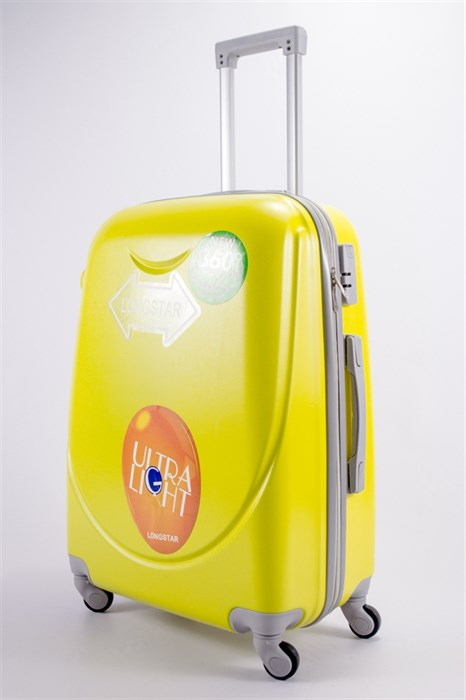 Чемодан средний ABS 360-гр smile  желтый - фото 39512