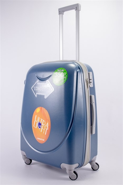 Чемодан средний ABS 360-гр smile  серо-голубой - фото 39547