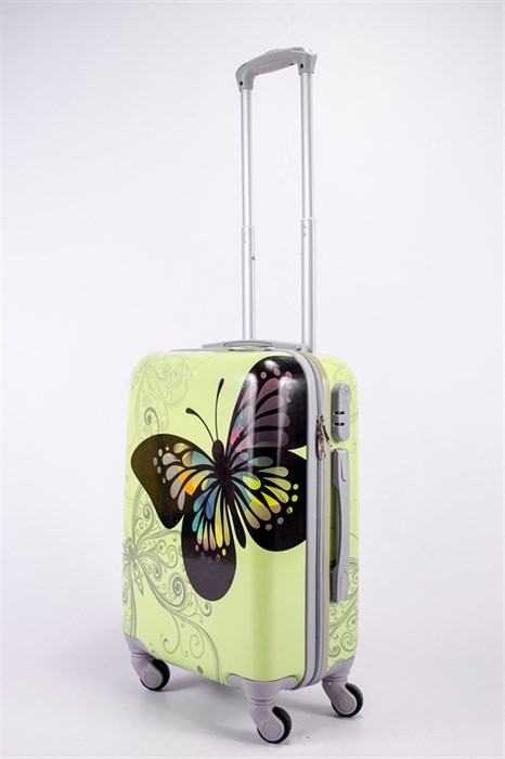 Чемодан маленький ABS Корона бабочка бежевая СФ - фото 39636