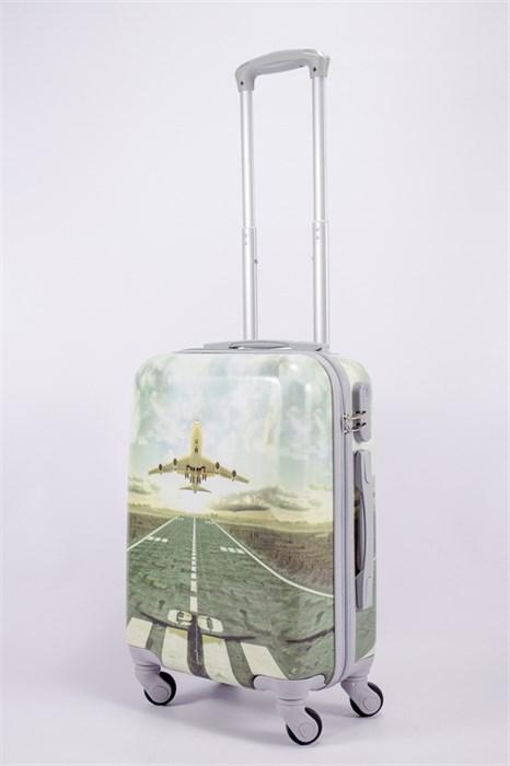 Чемодан маленький ABS рисунок самолет бежевый СФ - фото 39748