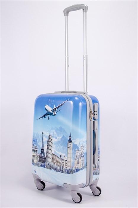 Чемодан маленький ABS рисунок самолет голубой СФ - фото 39755
