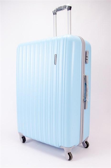 Чемодан большой ABS TT (верт  полоски) голубой (Уценка) - фото 39829