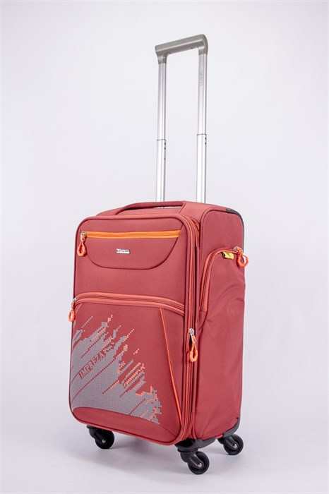 Чемодан текстильный средний Impreza (с аппликацией) красный съемные колеса - фото 40153