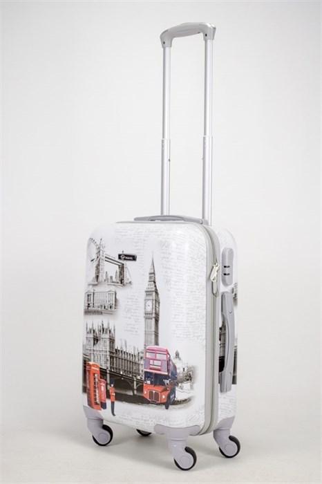 Чемодан маленький ABS Рисунок Эйфель/Такси/Автобус - фото 40599