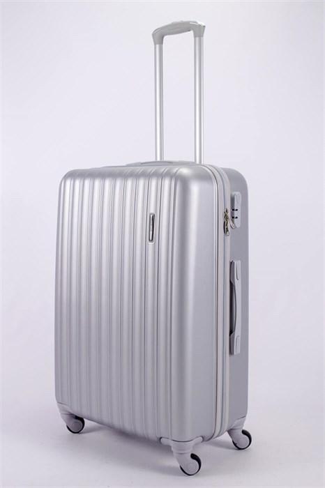 Чемодан большой ABS KK (верт  полосы)  серебро - фото 52140