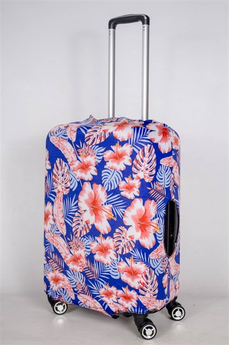 """Чехол для среднего чемодана """"алые цветы на синем фоне"""" 13393 - фото 52839"""