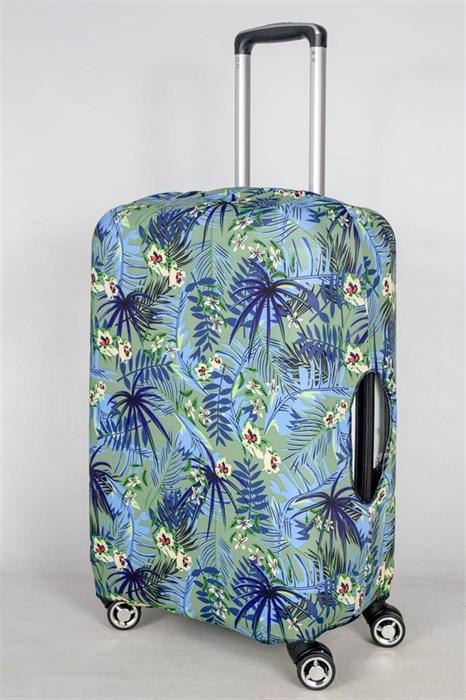 """Чехол для среднего чемодана """"синие папоротники на зеленом фоне"""" 13396 - фото 52845"""
