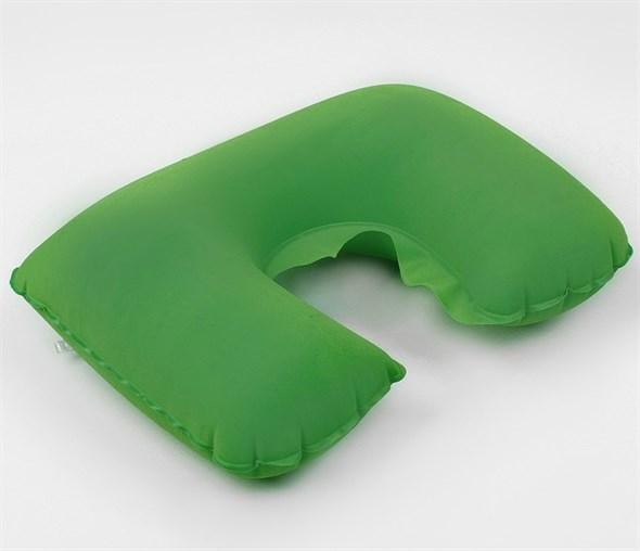 Подушка для шеи дорожная, надувная, 38 × 24 см, цвет зелёный 135632 - фото 53171