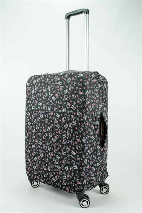 "Чехол для среднего чемодана ""красно-черный hello kitty"" 13693 - фото 53944"