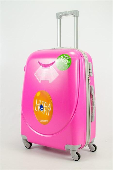 Чемодан средний ABS 360-гр smile  розовый - фото 53970