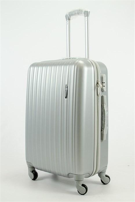 Чемодан средний ABS KK (верт полосы) серебро СФ OZ - фото 53977