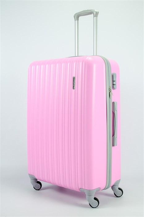 Чемодан большой ABS TT (верт  полоски) розовый (СФ) - фото 54105