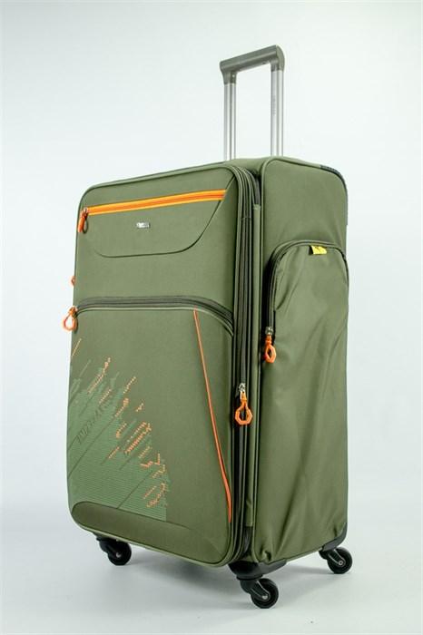 Чемодан текстильный большой Impreza (с аппликацией) тёмно-зеленый съемные колеса - фото 54170