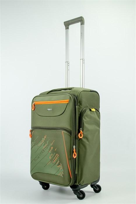 Чемодан текстильный средний Impreza (с аппликацией) тёмно-зеленый съемные колеса - фото 54177