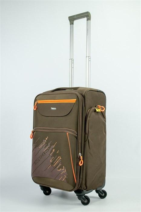 Чемодан текстильный средний Impreza (с аппликацией) коричневый съемные колеса - фото 54191