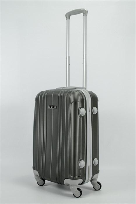 Чемодан маленький ABS RLD (верт  полоски) темно-серый СФ - фото 54538