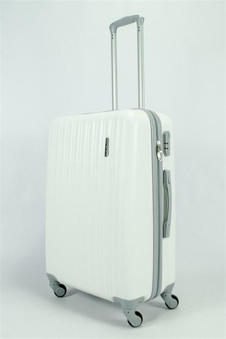 Чемодан средний ABS KK (верт  полосы)  белый OZ - фото 55016