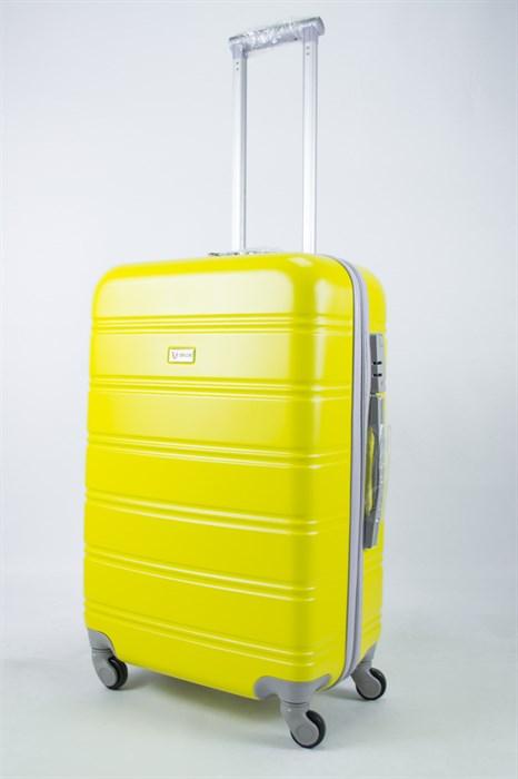 Чемодан средний ABS Union (гориз. полосы) жёлтый - фото 55853