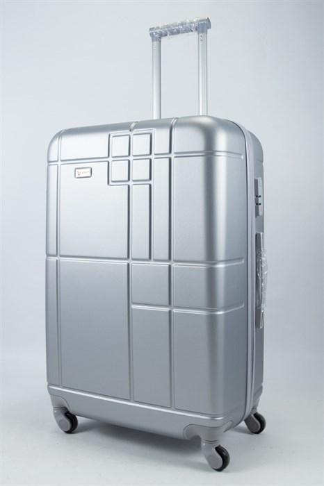Чемодан большой ABS Union (кубик) серебристый - фото 55993