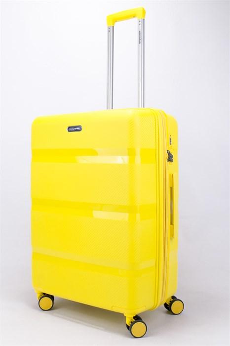 Чемодан средний PP (3 гориз. полосы) с расширением желтый - фото 56172