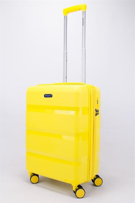 Чемодан маленький PP (3 гориз. полосы) с расширением желтый - фото 56183