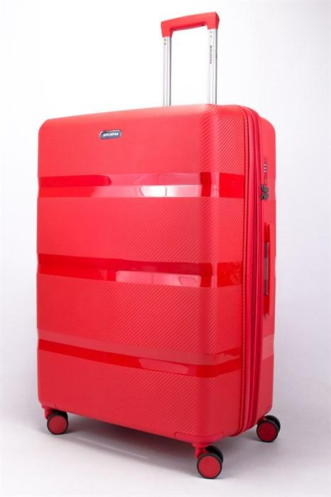 Чемодан большой PP (3 гориз. полосы) с расширением красный - фото 56449