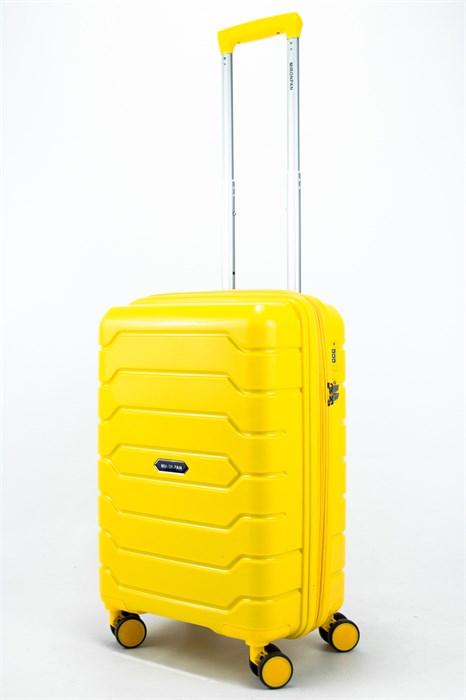 Чемодан маленький PP (ромб. полосы) с расширением жёлтый - фото 56530