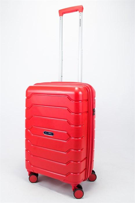 Чемодан маленький PP (ромб. полосы) с расширением красный - фото 56688