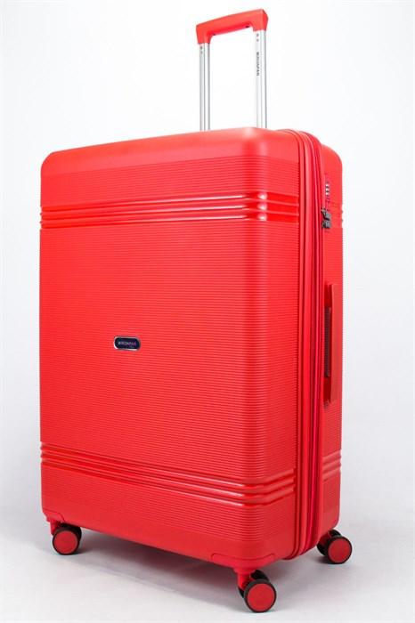 Чемодан большой PP (мелкие полосы) с расширением красный - фото 56715