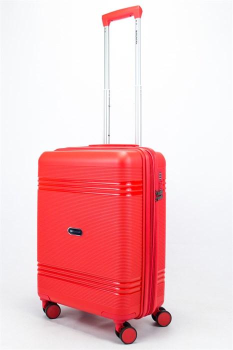 Чемодан маленький PP (мелкие полосы) с расширением красный - фото 56734