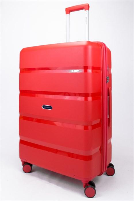 Чемодан большой PP (4 гориз. полосы) красный - фото 56980