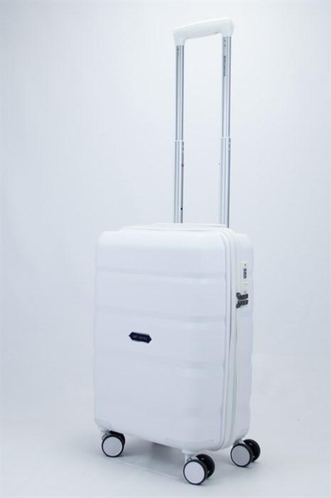 Чемодан маленький PP (4 гориз. полосы) белый - фото 57093