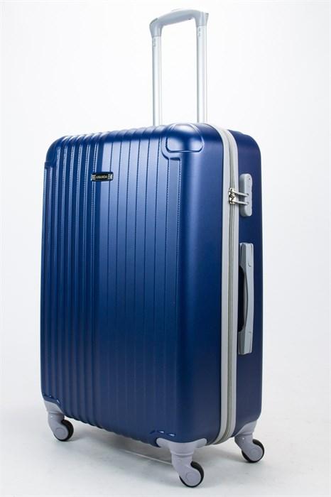 Чемодан большой ABS Ananda (верт. полоски и углы) темно-синий - фото 57312