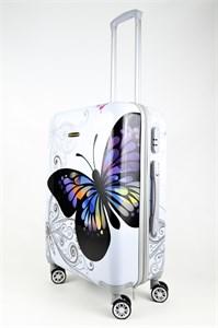 Чемодан средний ABS Корона бабочка белая