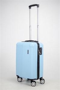 Чемодан маленький ABS ST (10 полос и уголки) голубой ЧФ