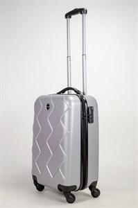 Чемодан маленький ABS Longstar (ромбики) серебро