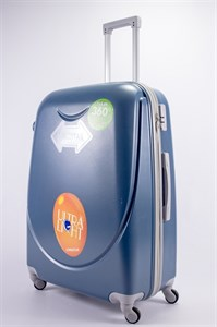 Чемодан большой ABS 360-гр smile  серо-голубой