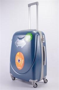 Чемодан средний ABS 360-гр smile  серо-голубой