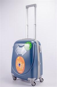 Чемодан маленький ABS 360-гр smile серо-голубой