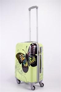 Чемодан маленький ABS Корона бабочка бежевая СФ