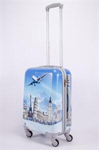 Чемодан маленький ABS рисунок самолет голубой СФ