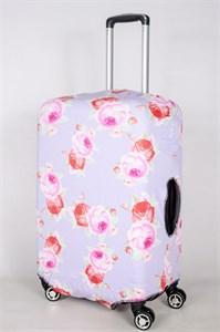 """Чехол для среднего чемодана """"розы на сиреневом фоне"""" 13380"""