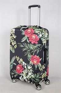 """Чехол для среднего чемодана """"красные цветы на черном фоне"""" 13382"""