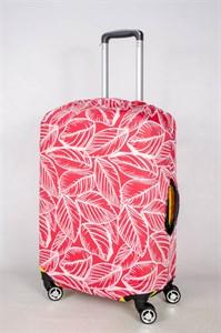 """Чехол для среднего чемодана """"белые листья на красном фоне"""" 13394"""