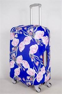 """Чехол для среднего чемодана """"розовые розы на синем фоне"""" 13399"""