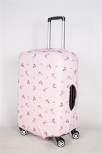 """Чехол для среднего чемодана """"маленькие цветочки на розовом фоне"""" 13403"""